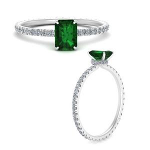 Emerald Hidden Halo Unique Ring