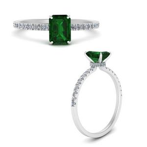 Emerald Under Halo Ring