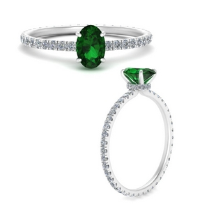 Oval Eternity Emerald Ring