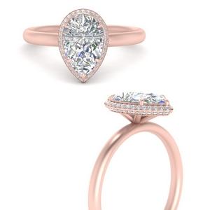 Pear Diamond Hidden Halo Ring