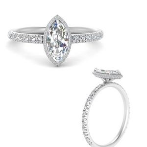 Marquise Halo Lab Diamond Rings