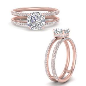 Hidden Halo Split Band Diamond Ring
