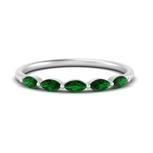 Emerald Thin Marquise Band