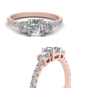 Asscher 3 Stone Wedding Rings