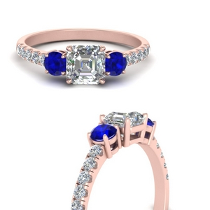 petite-micropave-asscher-cut-three-stone-diamond-engagement-ring-with-sapphire-in-FD9383ASRGSABLANGLE3-NL-RG