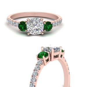 petite-micropave-cushion-cut-three-stone-diamond-engagement-ring-with-emerald-in-FD9383CURGEMGRANGLE3-NL-RG