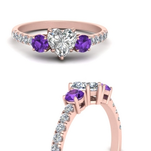 petite-micropave-heart-shaped-three-stone-diamond-engagement-ring-with-purple-topaz-in-FD9383HTRGVITOANGLE3-NL-RG