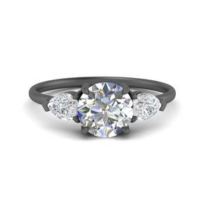 Black Gold Three Stone Ring