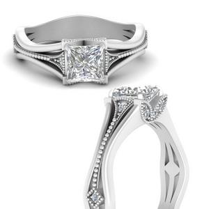Princess Cut Vintage Moissanite Rings