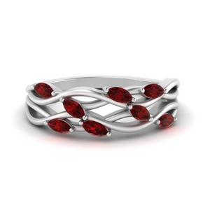 Leaf Wide Ruby Band