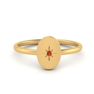 Oval Starburst Signet Ring