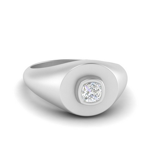 Cushion Cut Diamond Signet Ring