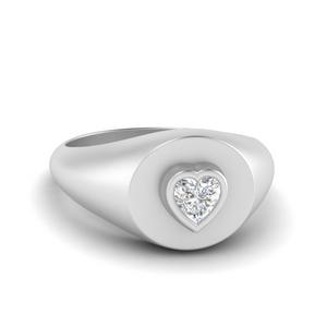 Signet Heart Diamond Ring