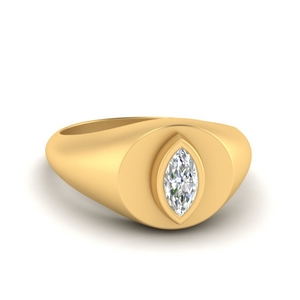 Marquise Disc Signet Ring