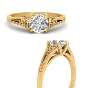 Filigree Solitaire Man Made Diamond Ring