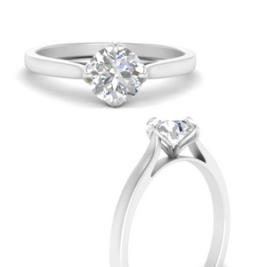 Compass Point Round Solitaire Ring
