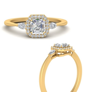 Pear Accents Halo Diamond Ring