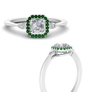 Asscher Halo Emerald Platinum Ring