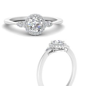 Three Stone Halo Diamond Minimalist Ring