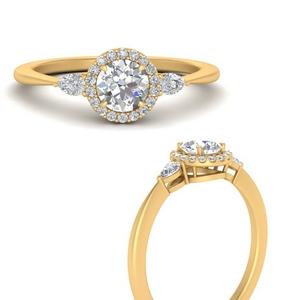 Round Halo Man Made Diamond Ring