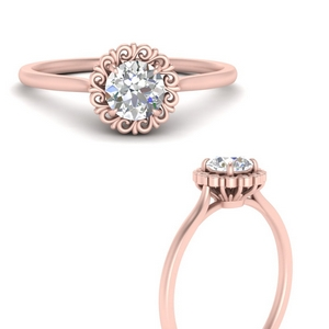 Floral Lab Diamond Solitaire Ring