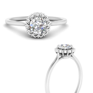 Floral Halo Single Stone Ring