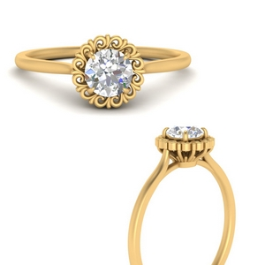 Round Solitaire Ring Flower