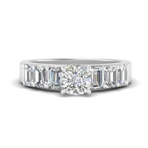 Cushion Diamond Side Stone Rings