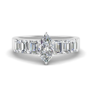 Marquise Shaped Side Stone Rings