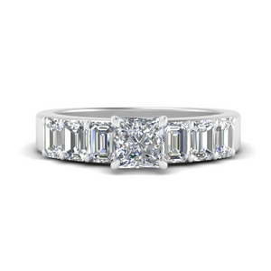 Princess Cut Side Stone Moissanite Rings