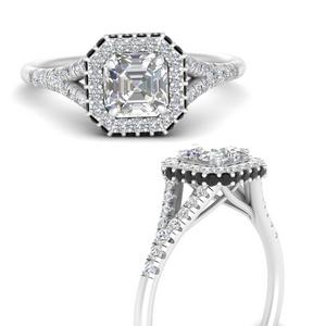Asscher Halo Lab Diamond Rings