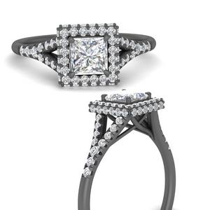 Split Shank Black Gold Diamond Ring
