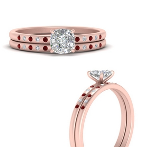 scattered-bezel-cushion-cut-wedding-ring-sets-with-ruby-in-FD9593CUGRUDRANGLE3-NL-RG