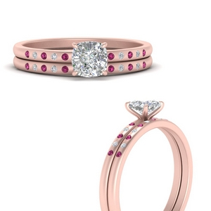 scattered-bezel-cushion-cut-wedding-ring-sets-with-pink-sapphire-in-FD9593CUGSADRPIANGLE3-NL-RG