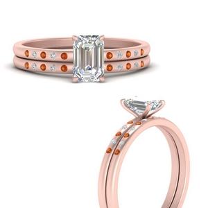scattered-bezel-emerald-cut-wedding-ring-sets-with-orange-sapphire-in-FD9593EMGSAORANGLE3-NL-RG