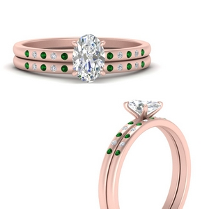scattered-bezel-oval-shaped-wedding-ring-sets-with-emerald-in-FD9593OVGEMGRANGLE3-NL-RG