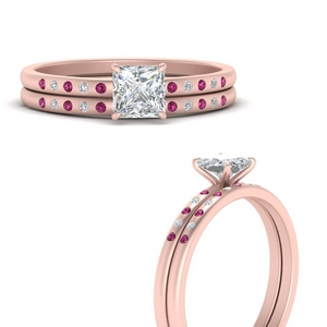 scattered-bezel-princess-cut-wedding-ring-sets-with-pink-sapphire-in-FD9593PRGSADRPIANGLE3-NL-RG