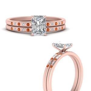 scattered-bezel-radiant-cut-wedding-ring-sets-with-orange-sapphire-in-FD9593RAGSAORANGLE3-NL-RG