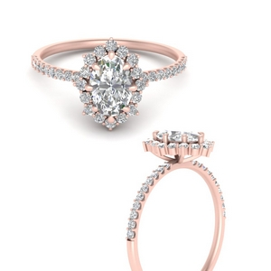 Rose Flower Engagement Ring