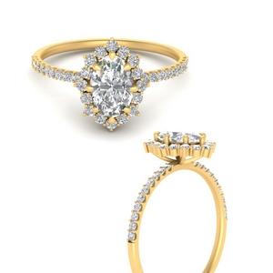 Oval Diamond Halo Engagement Rings