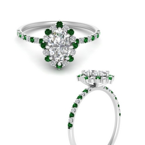 Flower Oval Halo Emerald Ring
