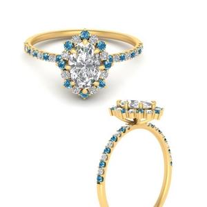 Flower Inspired Halo Topaz Ring