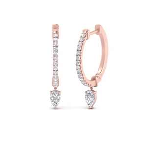 Huggie Diamond Pear Drop Earring