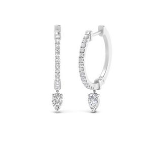 Hoop Diamond Pear Drop Earring