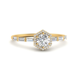Baguette Halo Round Diamond Ring