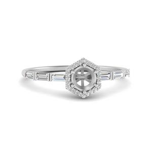 Baguette Halo Diamond Ring Mounting