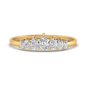 Crown Pear Diamond Wedding Band