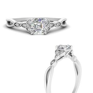 Asscher Side Stone Lab Diamond Rings