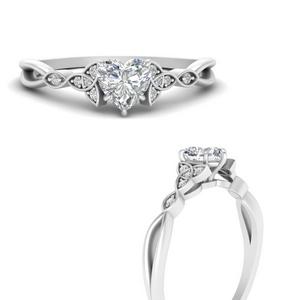 Heart Side Stone Lab Diamond Rings