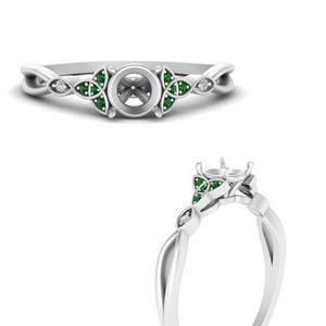 celtic-knot-split-semi-mount-diamond-engagement-ring-with-emerald-in-FD9609SMRGEMGRANGLE3-NL-WG